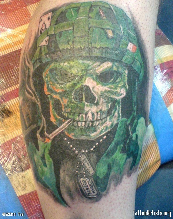 Military skull tattoo on legArmy Sniper Tattoos