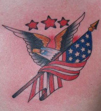 Stars eagle and american flag tattoo