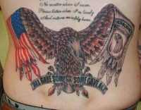 Big american military tattoo on back