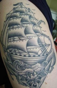 Ship and anchor tattoo
