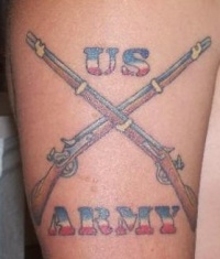 Crossed rifles us army tattoo